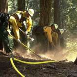 "This photo obtained August 26, 2013 courtesy of the US Forest Service, shows NPS crews as they dig hand line along a sprinkler hose as part of a multi-pronged approach to protecting the Giant Sequoias against the Rim fire. A wildfire raging on the northern tip of California's Yosemite National Park threatens a world-famous site of natural beauty and the reservoir that provides San Francisco with drinking water. AFP PHOTO / US FOREST SERVICE == RESTRICTED TO EDITORIAL USE / MANDATORY CREDIT: ""AFP PHOTO / US FOREST SERVICE / NO MARKETING / NO ADVERTISING CAMPAIGNS / DISTRIBUTED AS A SERVICE TO CLIENTS ==HO/AFP/Getty Images"