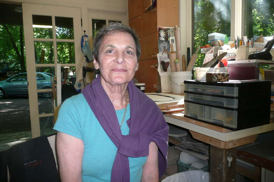 Greenwich artist Florence Suerig, seen at work in her backcountry studio, plans a multimedia art work to mark her 80th year.​ Photo: Picasa, Anne W. Semmes