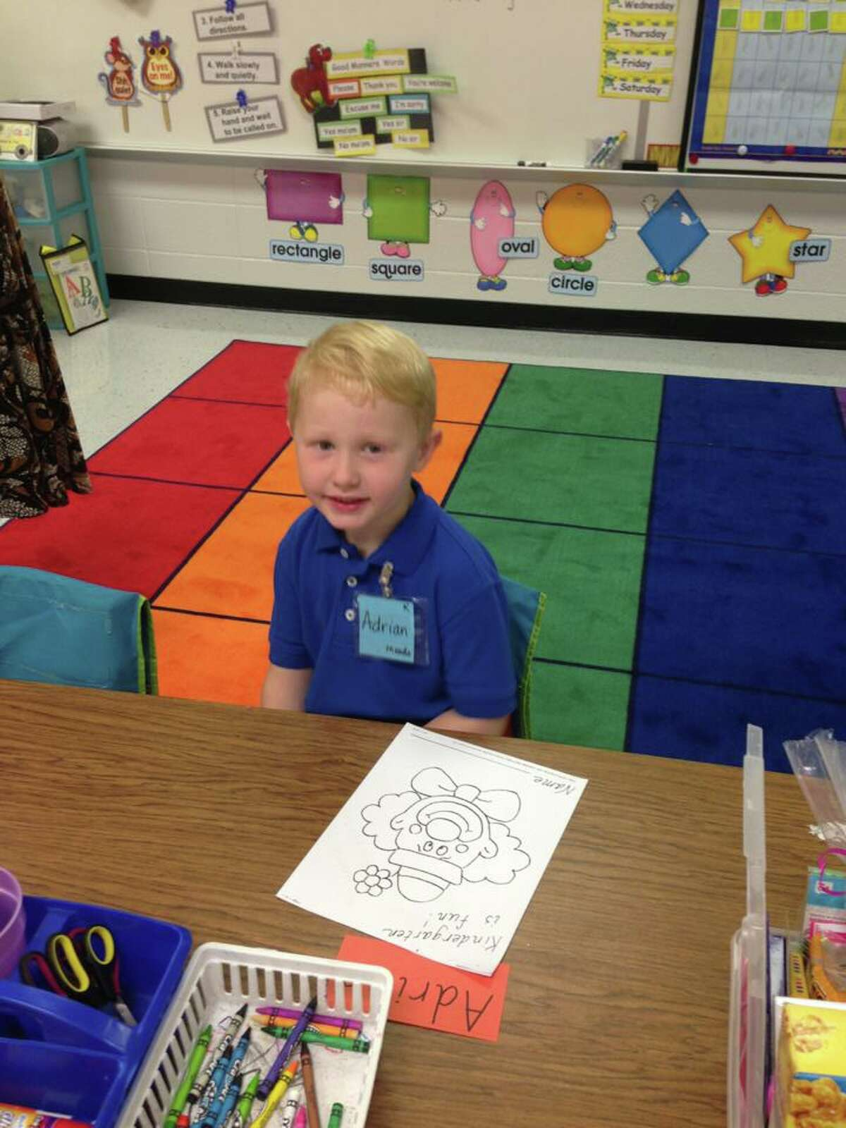 Adrian Morris on his first day of kindergarten in Pearland.
