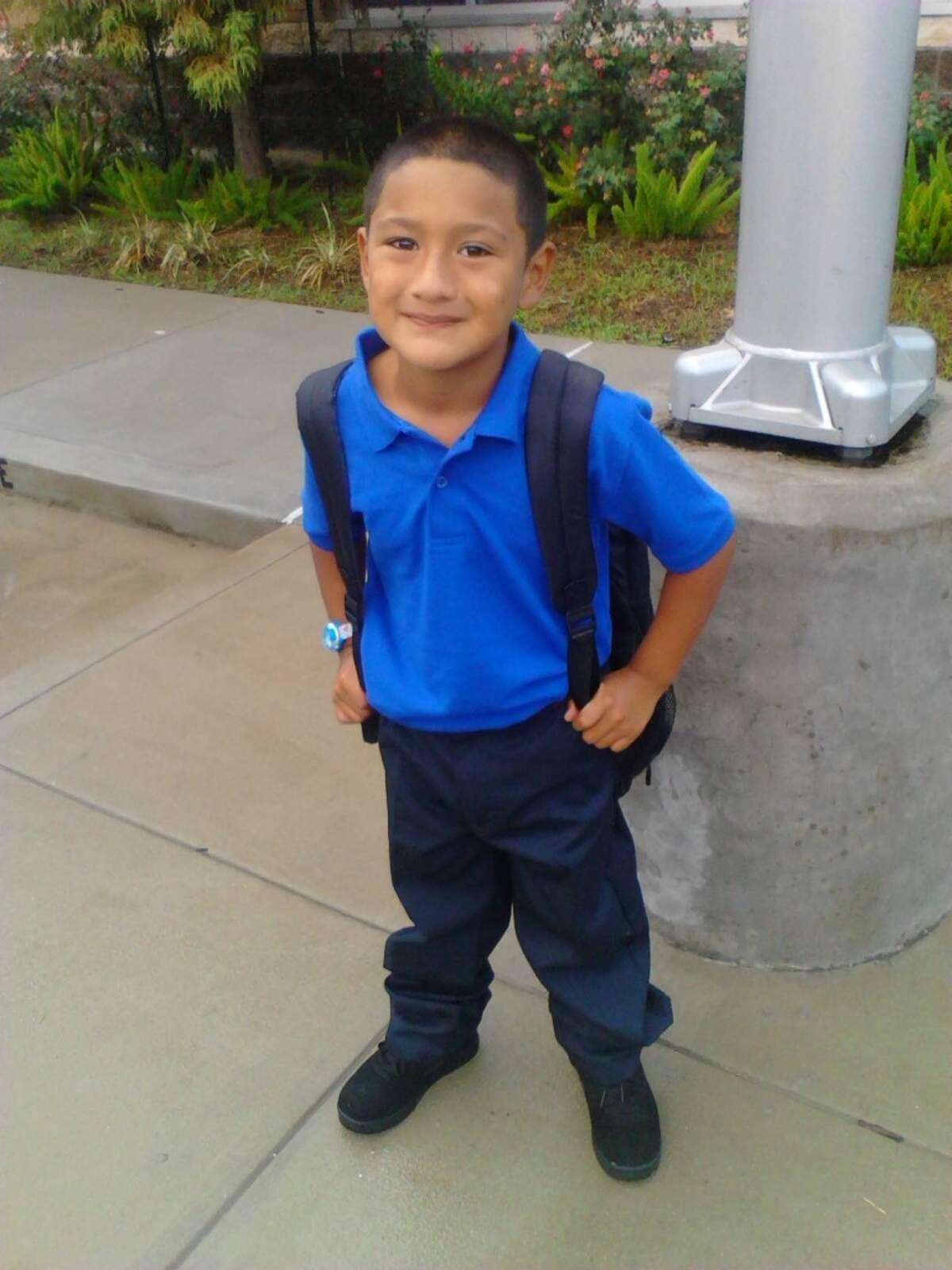Javier Aguilar starts first grade at Almeda Elementary.
