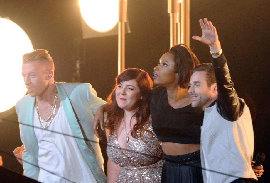 "Macklemore, from left, Mary Lambert, Jennifer Hudson and Ryan Lewis perform ""Same Love."" Photo: Charles Sykes, Associated Press"