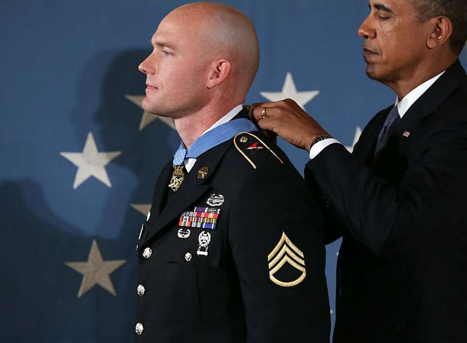 President Obama awards a Medal of Honor to U.S. Army Staff Sgt. Ty M. Carter at the White House. Photo: Alex Wong, Getty Images