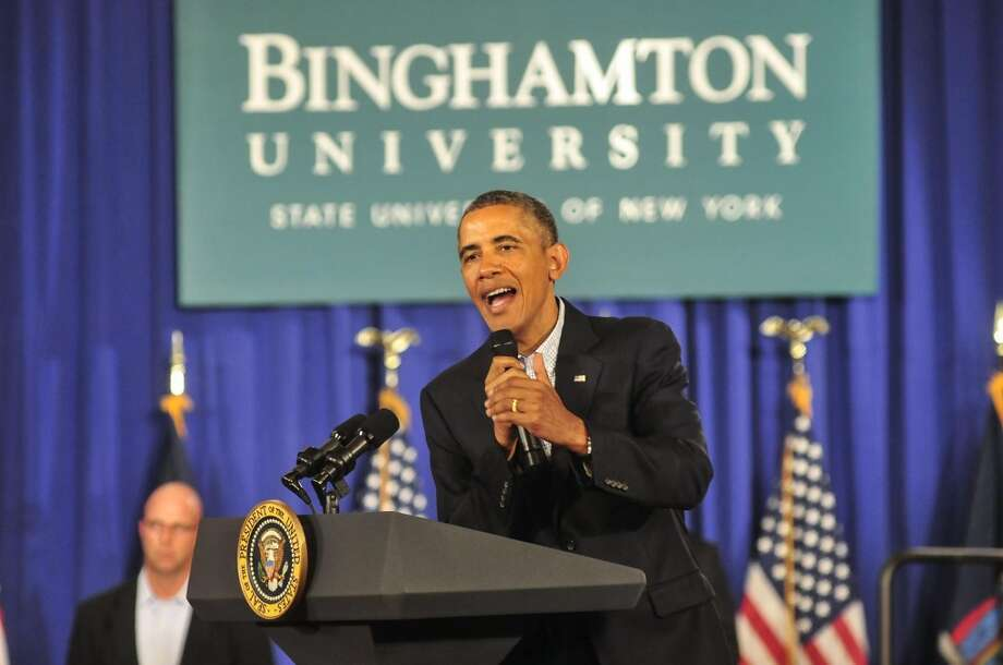 President Barack Obama spoke to student, faculty, staff, and local leaders during a town hall style meeting at Binghamton University on Friday, Aug. 23, 2013. (AP Photo/ Press & Sun-Bulletin, Kristopher Radder) Photo: Associated Press