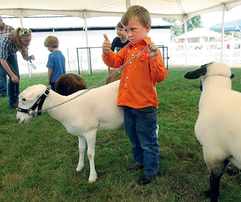 We had a deal, right?Four-year-old Cordell Burt gestures to the judge after competing in   the pee-wee division of sheep showing at the Kitsap County Fair & Stampede in Bremerton,   Wash. Photo: Larry Steagall, Associated Press