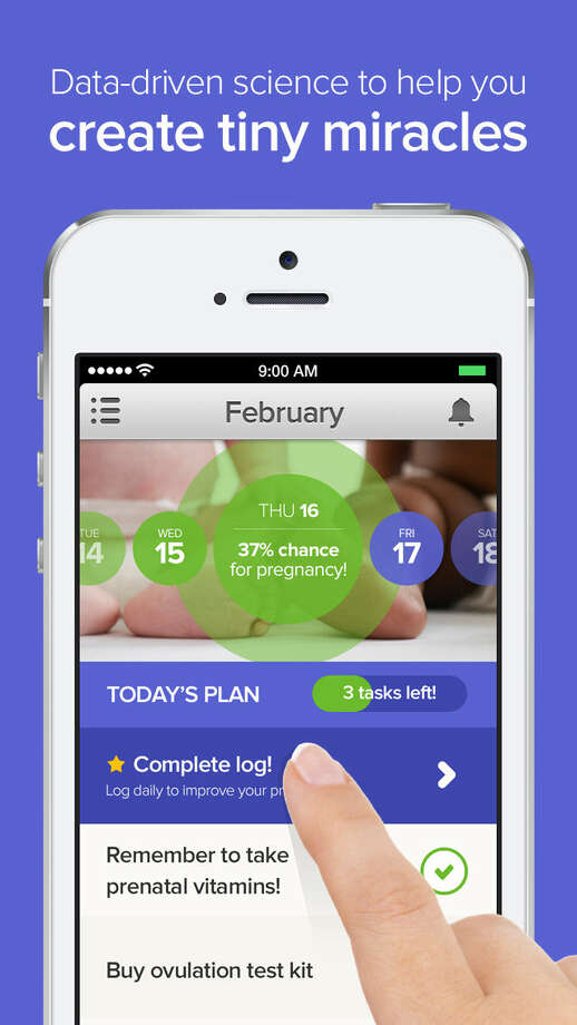 A phone app from Glow Inc. compiles data to help women track fertility. Photo: Getty Images