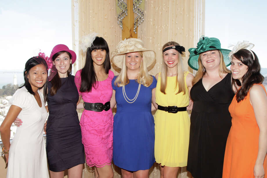 Jenny Tea, Kari Fox, Tinna Ho, Laura Davis, Michelle Bertino, Casey Gray and Bailey Douglass at the Spinsters of San Francisco Annual New Member Tea at the Fairmont on August 25, 2013. Photo: Drew Altizer Photography / @ Drew Altizer 2013