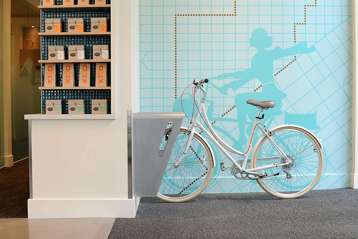 Free coffee and indoor bicycle parking is offered to guests at Umpqua Bank's flagship store in San Francisco, California on Monday, August 26, 2013.