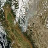 NASA's Terra satellite provided a natural-color image of the drought-fueled Rim Fire at Yosemite's western edge.