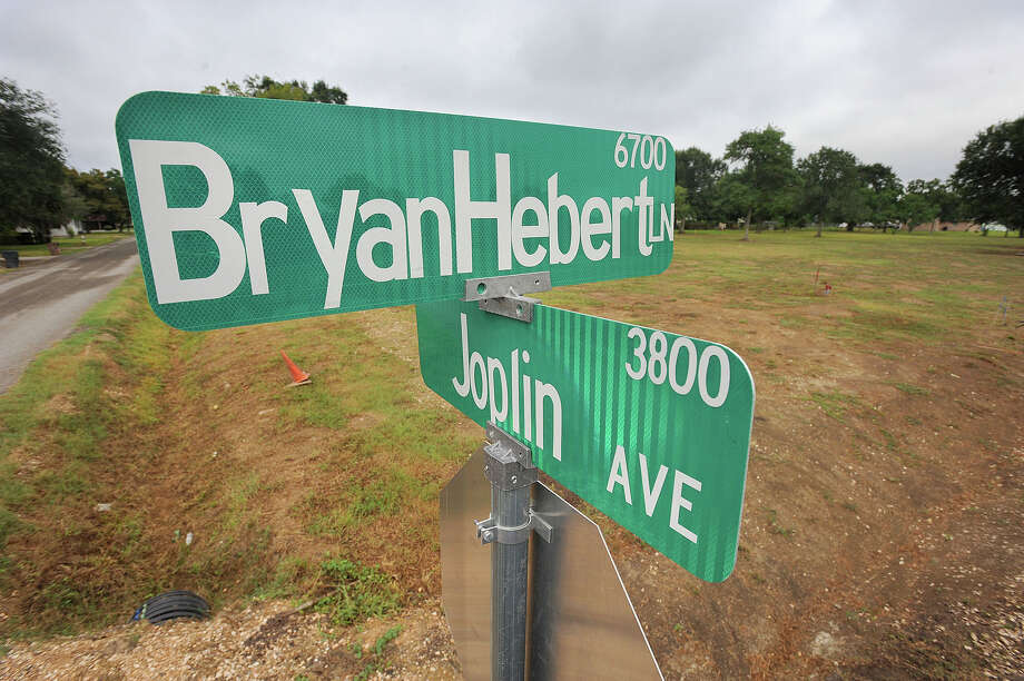 A street in Groves has been named Bryan Hebert Lane in honor of Beaumont Police Officer Bryan Hebert who was killed in the line of duty  in July of 2011.  Photo taken Monday, August 26, 2013 Guiseppe Barranco/The Enterprise Photo: Guiseppe Barranco, STAFF PHOTOGRAPHER / The Beaumont Enterprise