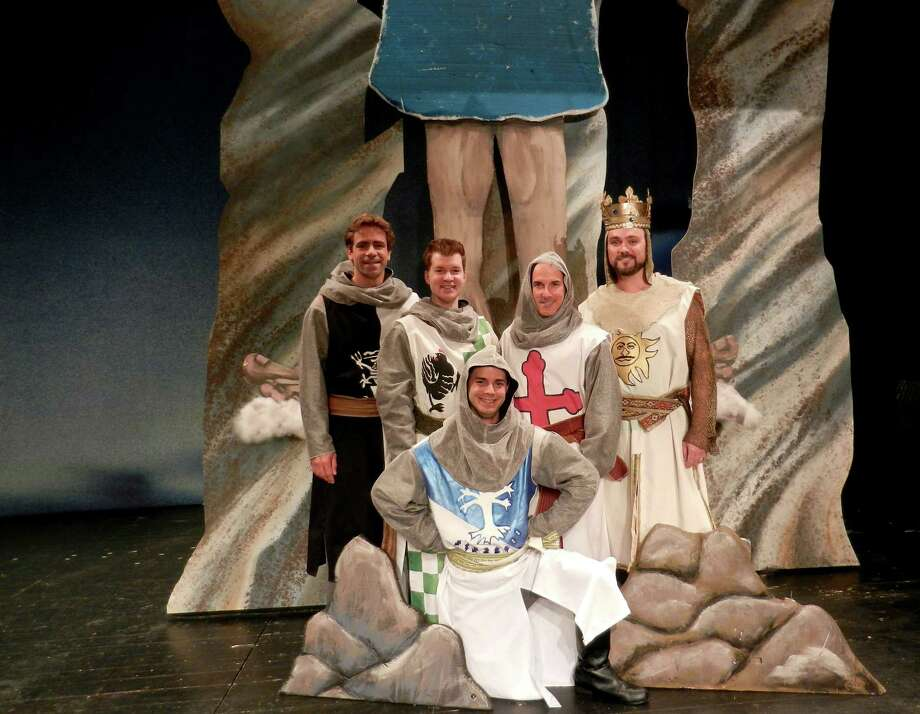 "Stamford's Curtain Call is launching its new season with the area premiere of ""Spamalot"" from September 13 to October 5. The cast includes (back row, left to right) Joe Efferen, Richard Cummings, Brian Meltzer, Brian Maher, (kneeling front) Mathew Martin. Photo: Contributed Photo"