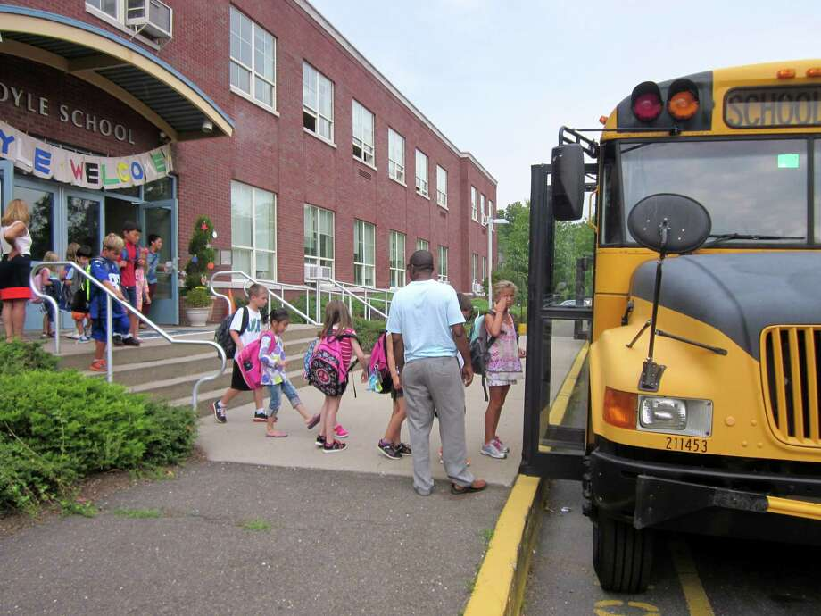 Students were called for their buses as they left the first day of school at Royle Elementary School on Monday, August 26. Campus monito Paul Taylor said the first day went well. Photo: Megan Spicer