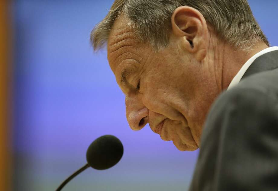San Diego Mayor Bob Filner speaks after agreeing to resign at a city council meeting Friday, Aug. 23, 2013, in San Diego. Filner agreed to resign on Aug. 30, bowing to enormous pressure after lurid sexual harassment allegations brought by at least 17 women eroded his support after just nine months on the job. (AP Photo/Gregory Bull) Photo: Gregory Bull, Associated Press