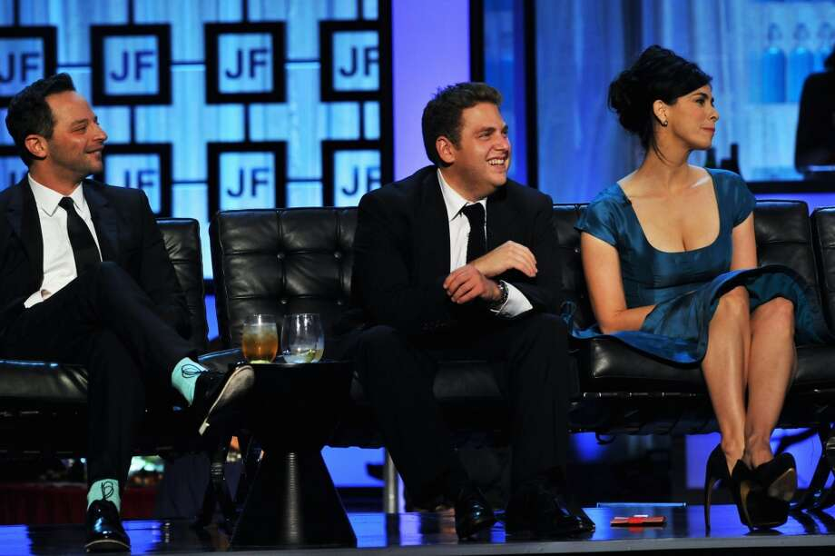(L-R) Nick Kroll, Jonah Hill and Sarah Silverman onstage during The Comedy Central Roast Of James Franco at Culver Studios on August 25, 2013 in Culver City, California. Photo: Lester Cohen, WireImage