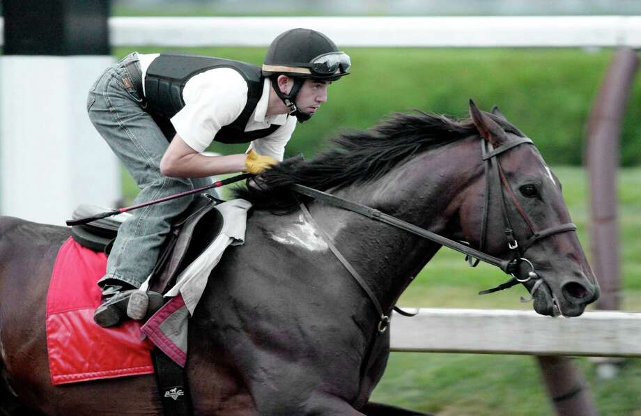 Fort Larned with regular rider Brian Hernandez aboard put in his final breeze  Aug. 26, 2013 at the Saratoga Race Course in Saratoga Springs, N.Y. in preparation for the Woodward which will run at Saratoga on Saturday. (Skip Dickstein/Times Union) Photo: SKIP DICKSTEIN