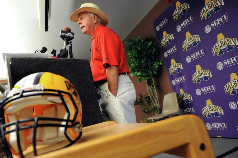 Football coach Bob Ford announces he'll retire after this season during Media Day on Tuesday, Aug. 13, 2013, at UAlbany in Albany, N.Y. (Cindy Schultz / Times Union) Photo: Cindy Schultz / 00023496A
