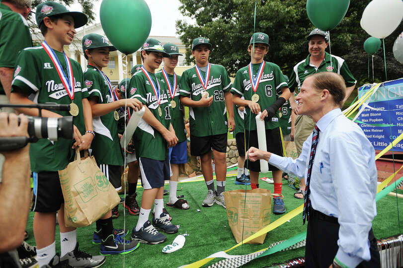 The Westport Little League boys champion baseball team is greeted by U.S. Senator Richard Blumenthal