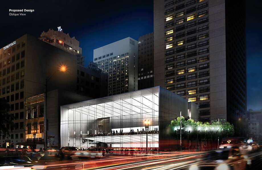The revised plan for Apple's Union Square store envisions a more deeply recessed glass wall along Post Street. Photo: Apple
