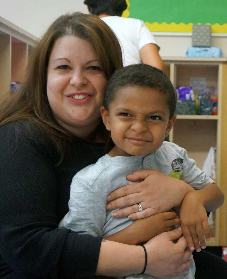 L.J. Goodwin, an incoming kindergartner at Cos Cob School, and his mother, Amy Zicarelli-Goodwin, get to know his new classroom. Photo: Greenwich Time