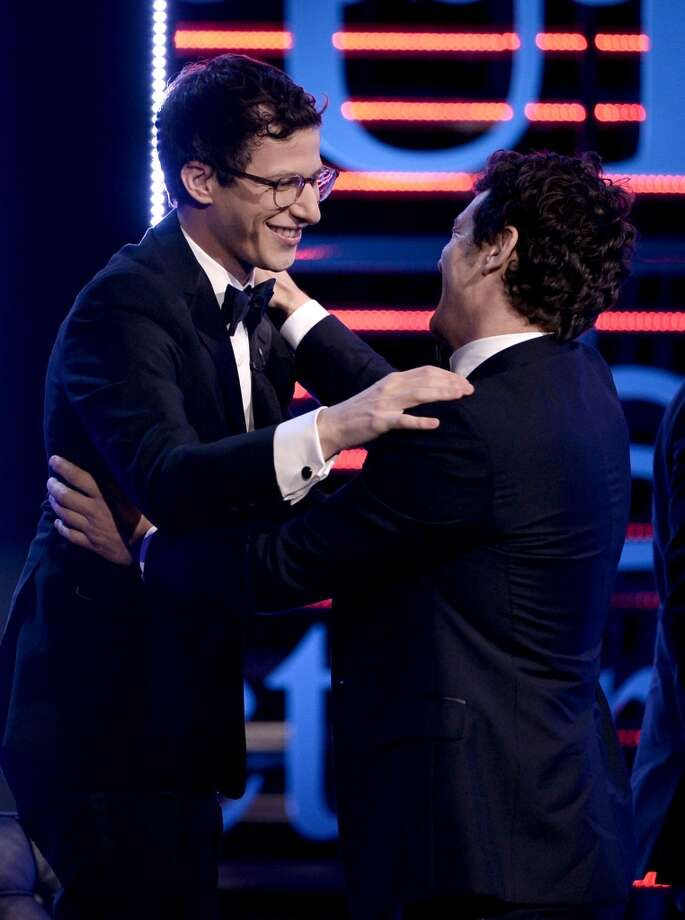 Actor Andy Samberg (L) and roastee James Franco speak onstage during The Comedy Central Roast of James Franco at Culver Studios on August 25, 2013 in Culver City, California. Photo: Kevin Winter, Getty Images For Comedy Central