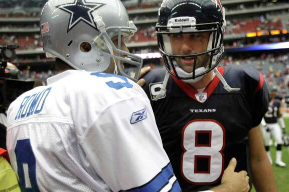 With neither of their teams having gone deep in the playoffs, the Cowboys' Tony Romo, left, and Texans counterpart Matt Schaub have been the targets of criticism.