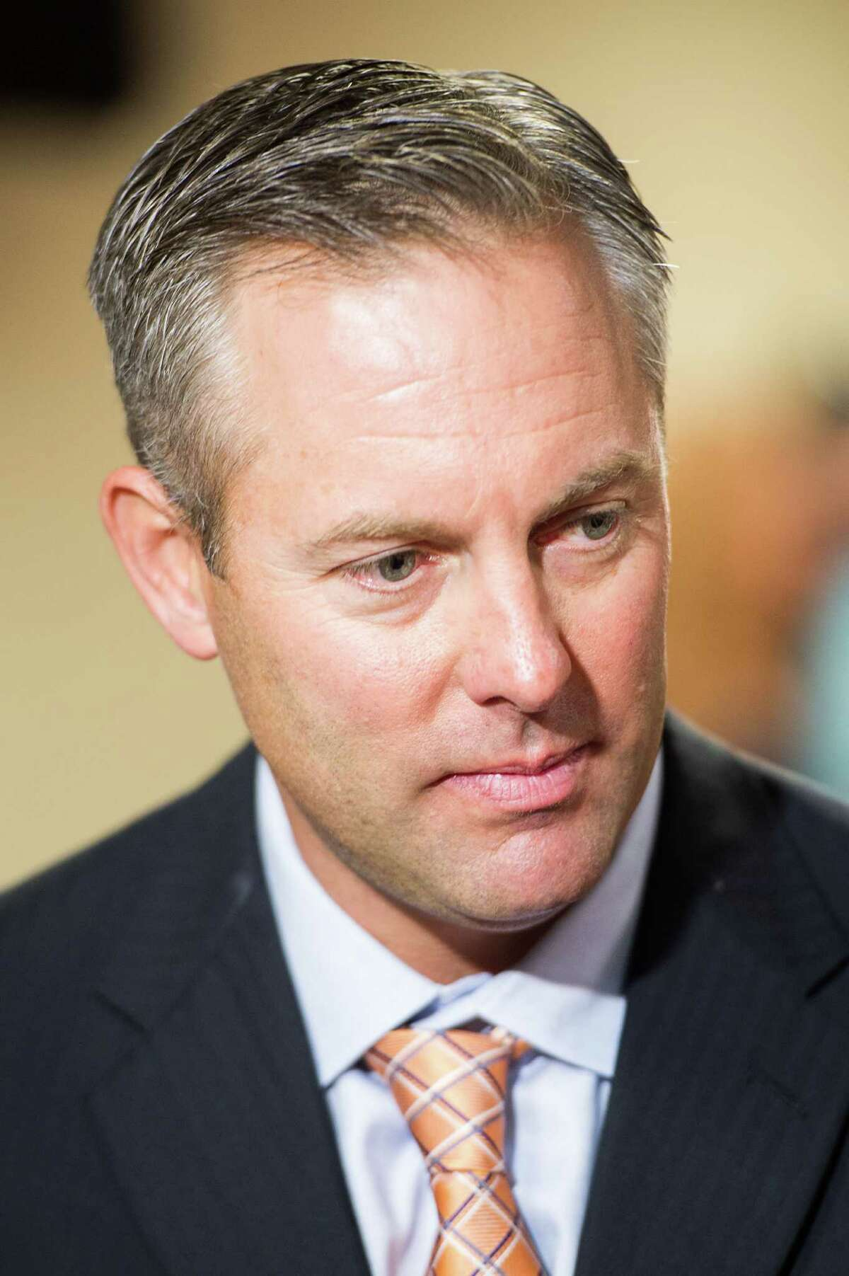 Reid Ryan addresses the media after being announced as the new Houston Astros president at Minute Maid Park on Friday, May 17, 2013, in Houston. Ryan, the eldest son of Astros pitching great and current Texas Rangers executive Nolan Ryan, is the CEO of Ryan-Sanders, the owner of the Round Rock Express and Corpus Christi Hooks, a pair of successful minor league franchises. ( Smiley N. Pool / Houston Chronicle )