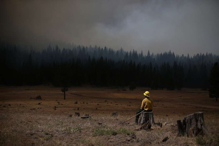 U.S. Fish and Wildlife Service firefighter Corey Adams sits on a tree stump as he monitors the Rim Fire on August 25, 2013 near Groveland, California. Photo: Getty Images