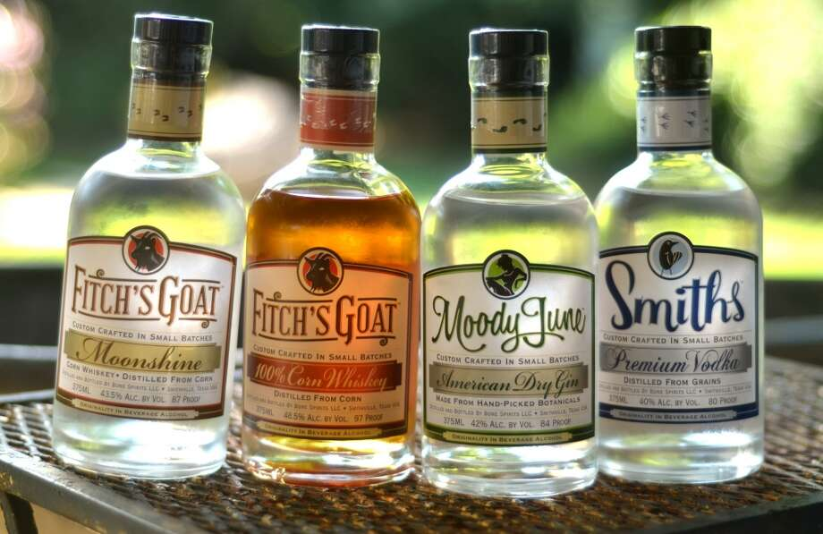 Bone Spirits' full portfolio: (L-R) Fitch's Goat Moonshine, Fitch's Goat Corn Whiskey, Moody June Gin and Smiths Vodka. Photo: Cat5
