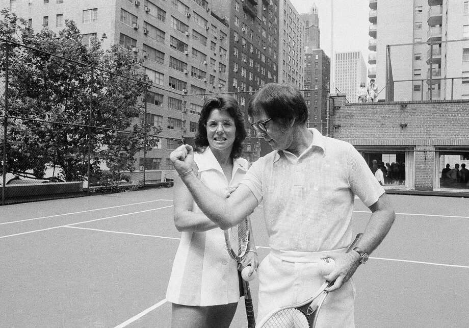 "A new report in ESPN suggests that Billie Jean King's win over Bobby Riggs in 1973's famous ""Battle of the Sexes"" match was setup by Riggs to settle his gambling debts with the mafia. Photo: Anthony Camerano, AP"