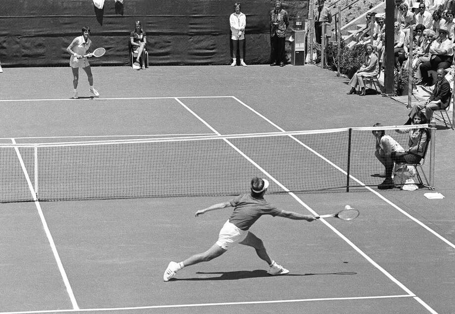 "Bobby Riggs, who calls himself an old man ""with one foot in the grave"" at 55, moves quickly to return a Margaret Court stroke as he easily defeated the 30-year-old Australian star at Ramona, Calif., May 12, 1973 in a winner-take-all, $10,000 match which he provoked. Photo: Wally Fong, AP"