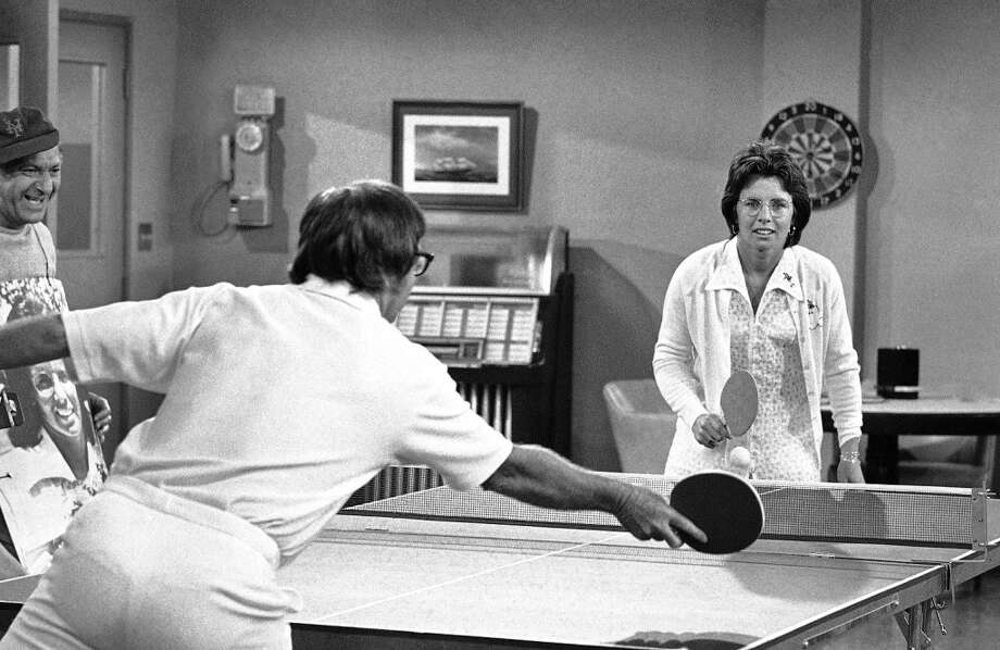 "Bobby Riggs tries a new kind of tennis game - table tennis - with Billie Jean King during taping of a segment of TV's ""The Odd Couple"" in Hollywood on Friday, Oct. 20, 1973. Mrs. King defeated Riggs in three straight sets in their match at Houston's Astrodome. The outcome of the new game was not immediately known. Photo: Harold Filan, AP"