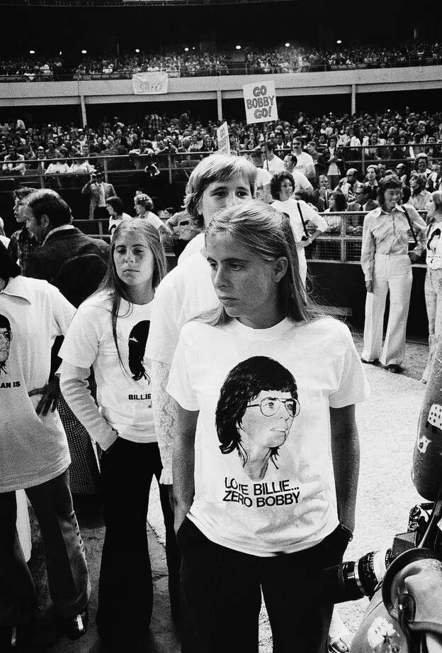 "Supporters of Billie Jean King are shown at the Astrodome in Houston, Tex., Sep 20,1973 as King will participate in a $100,000 winner-take-all ""Battle of the Sexes"" match against  Bobby Riggs. Photo: Anonymous, AP"