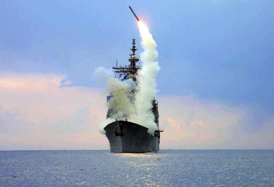 With the United State posturing toward intervening with military action in the Syrian conflict, here is a look at American naval power in the region. Photo: KENNETH MOLL, File / AP2003