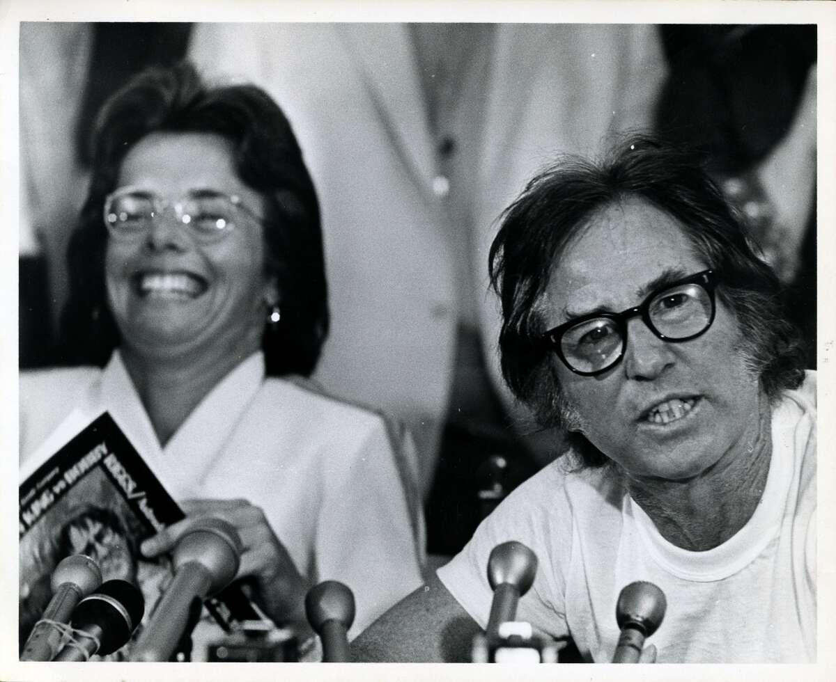 Tennis players Billie Jean King and Bobby Riggs hold press conference before Battle of the Sexes exhibition tennis match