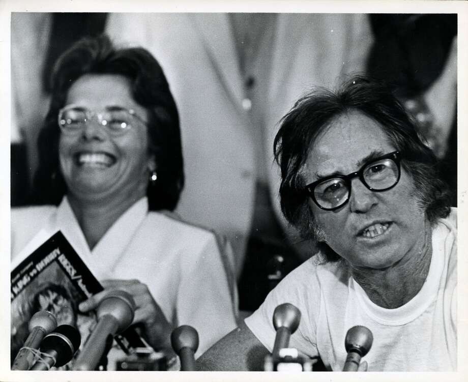 Tennis players Billie Jean King and Bobby Riggs hold press conference before Battle of the Sexes exhibition tennis match Photo: © Houston Chronicle