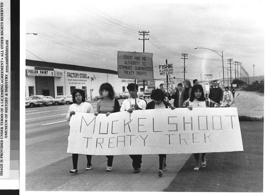 Muckleshoot Tribe marches to courthouse, 1966. Photo: Robert H. Miller/Copyright MOHAI, Seattle Post-Intelligencer Collection, 1986.5.4450_fromD Photo: Robert H. Miller, Copyright MOHAI, Seattle Post-Intelligencer Collection / Copyright Museum of History & Industry