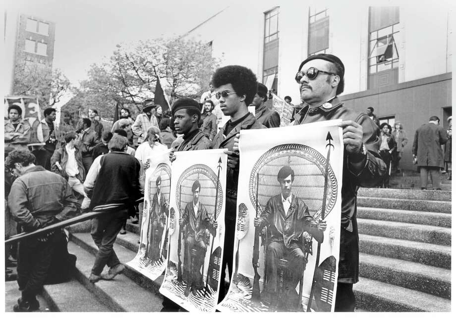 Black Panther demonstration at Federal Building for release of Huey Newton, 1969. Photo: Tom Barlet/Copyright MOHAI, Seattle Post-Intelligencer Collection, 1986.5.52268.1 Photo: Tom Barlet, Copyright MOHAI, Seattle Post-Intelligencer Collection / Copyright Museum of History & Industry