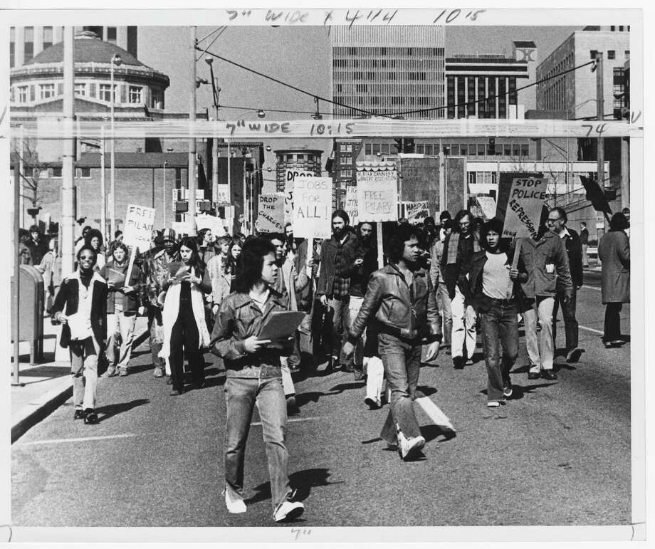Minority construction workers march on Fifth Avenue in Seattle in protest of jailing of their organization supporters, 1972. Photo: Robert H. Miller/Copyright MOHAI, Seattle Post-Intelligencer Collection, 200.107_print_CivilRights_004 copy Photo: Robert H. Miller, Copyright MOHAI, Seattle Post-Intelligencer Collection / Copyright Museum of History & Industry