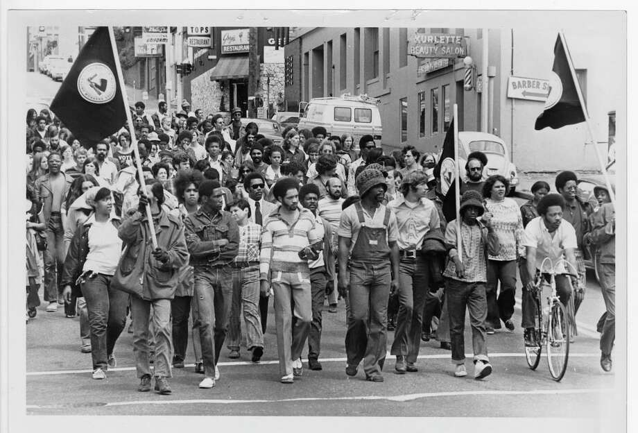 United Construction Workers members and associates march down Madison Street to the Federal Courthouse in Seattle, 1972. Photo: Robert H. Miller/Copyright MOHAI, Seattle Post-Intelligencer Collection, 2000.107_print_CivilRights_001 copy Photo: Robert H. Miller, Copyright MOHAI, Seattle Post-Intelligencer Collection / Copyright Museum of History & Industry