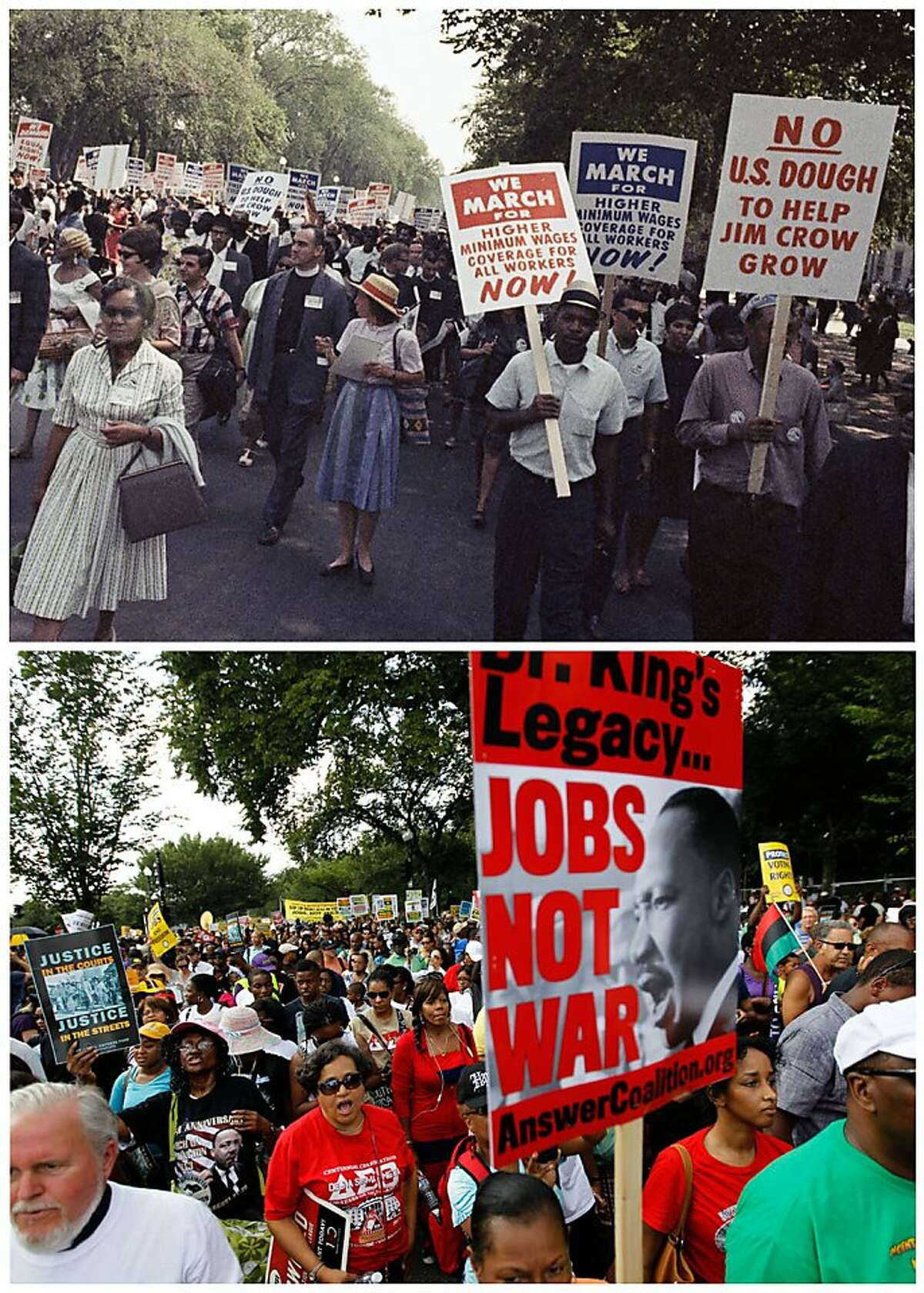 In this combination of Associated Press file photos, at top, a large crowd marches for civil rights in Washington on Aug. 28, 1963; and at bottom, demonstrators march towards the Martin Luther King Junior Memorial during a rally to commemorate the 50th anniversary of the 1963 march on Saturday, Aug. 24, 2013. Aging veterans of the original March on Washington gathered with younger generations Saturday amassing a crowd that in contrast was more female, more Hispanic, and more diverse by sexual orientation than in 1963. (AP Photo/File)