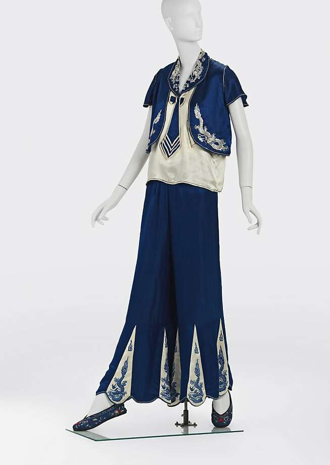 These lounge pajamas were silk on silk with silk thread embroidery. Photo: Ken Howie