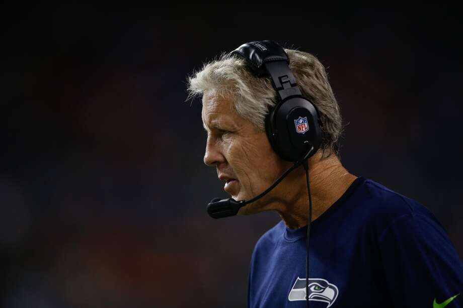 Seahawks cut roster down to 75  The Seahawks had to reduce their preseason roster to 75 men by 1 p.m. PDT Tuesday. Head coach Pete Carroll (pictured) and his staff had to make a lot of tough decisions to whittle his team down from the 90 guys who showed up to training camp.  On Monday, the Seahawks announced eight cuts and another roster move, bringing the active roster down to 81. On Tuesday morning, the team announced two more cuts. And on Tuesday afternoon, Seattle announced four more roster moves to bring the active list down to 75.  Here are the players who have been cut or placed on reserve lists as of Tuesday's 75-man deadline. Photo: Otto Greule Jr, Getty Images