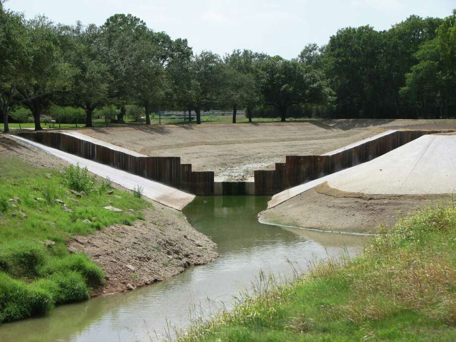 An erosion control project designed to control runoff during periods of heavy rain on White Oak Bayou has been successfully completed by the Harris County Flood Control District. Above is some of the work done to prevent erosion on the sides of the bayou. Photo: Courtesy