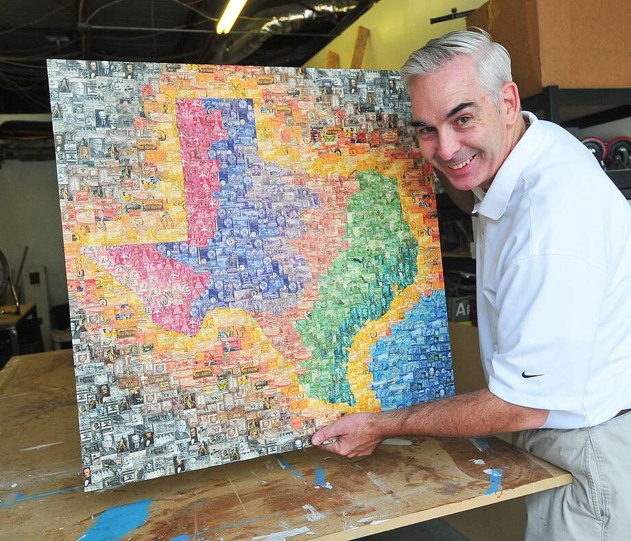 Artist Peter Hite created this piece of art with postage stamps in his studio on Stuebner Airline. He also is creating a sculpture/art piece which will be displayed in the Smithsonian's new postal history gallery addition. Photo: Â Tony Bullard 2013, Freelance Photographer / © Tony Bullard & the Houston Chronicle