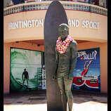 Legends of the surf, Huntington Beach Surf icon Duke Kahanamoku at Huntington Surf and Sport. Read more: Top 10 California coast hotels