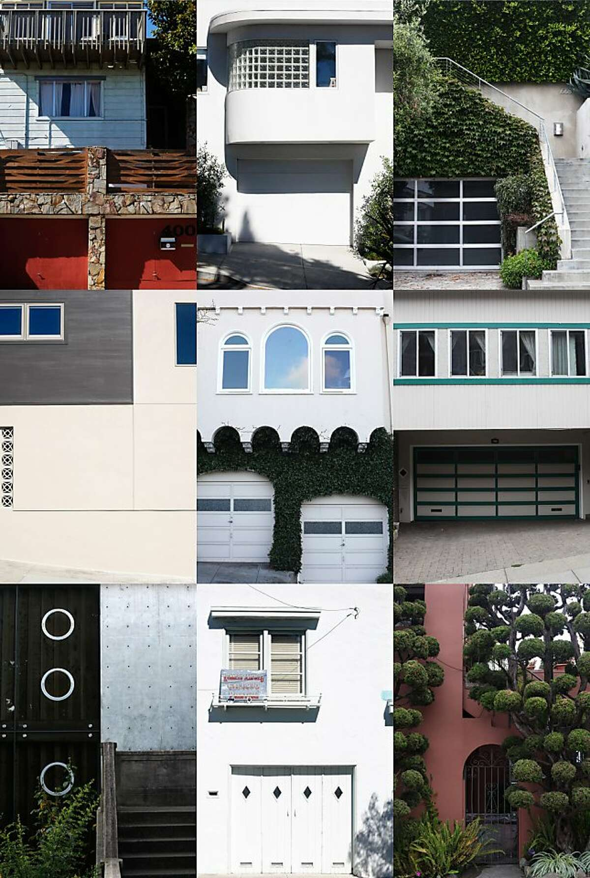 Nine different homes located within blocks of one another in the Dolores Heights neighborhood demonstrate the diversity of architectural style of the neighborhood in San Francisco, Calif.