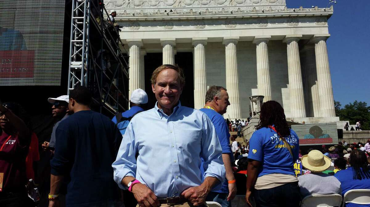 Cable entrepreneur Steve Simmons, who lives in Greenwich, attends the 50th anniversary of the March on Washington for Labor and Jobs at the Washington Monument in Washington, D.C. on Saturday, Aug. 24. At 17, Simmons attended the original March, where he heard Martin Luther King, Jr.âÄôs famous âÄúI Have a DreamâÄù speech.