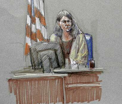 Joleen Cahill, wife of Michael Cahill who was killed in the Fort Hood shootings, is depicted in a courtroom sketch at the Lawrence William Judicial Center during the sentencing phase for Maj. Nidal Hasan, Tuesday, Aug. 27, 2013, in Fort Hood, Texas. Hasan was convicted of killing 13 of his unarmed comrades in the deadliest attack ever on a U.S. military base. (AP Photo/Brigitte Woosley) Photo: Brigitte Woosley, Associated Press / FR170958 AP