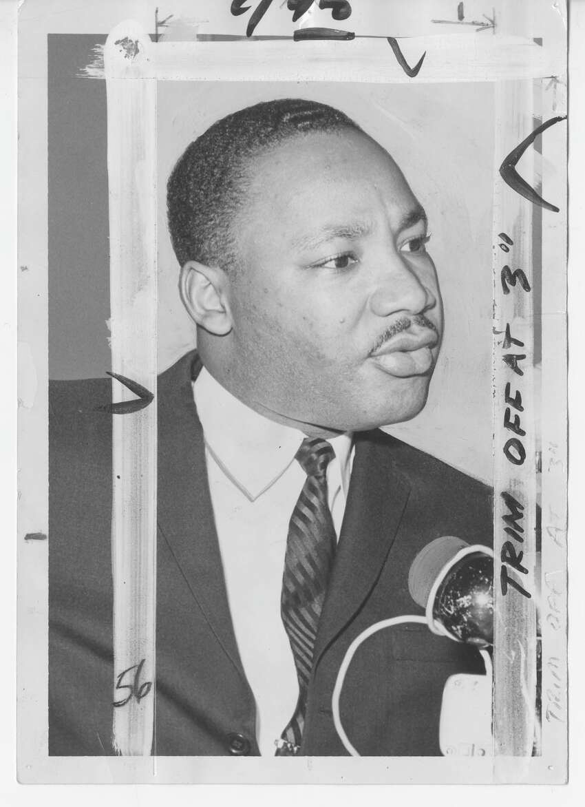 The Reverend Dr. Martin Luther King in Seattle on November 9, 1961 to address four meetings. Quote with the caption: