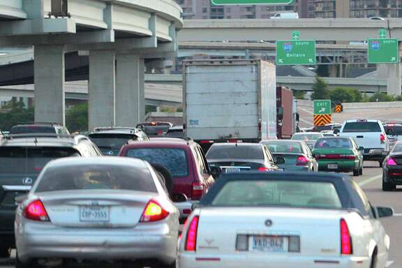 A typical view for drivers southbound on U.S. 59 at Loop 610 - lots of brake lights, but little movement.