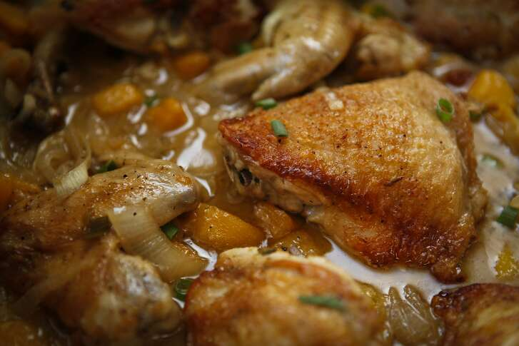 Peach Chicken for Rosh Hashanah is seen on Wednesday, Aug. 14, 2013 in San Francisco, Calif.